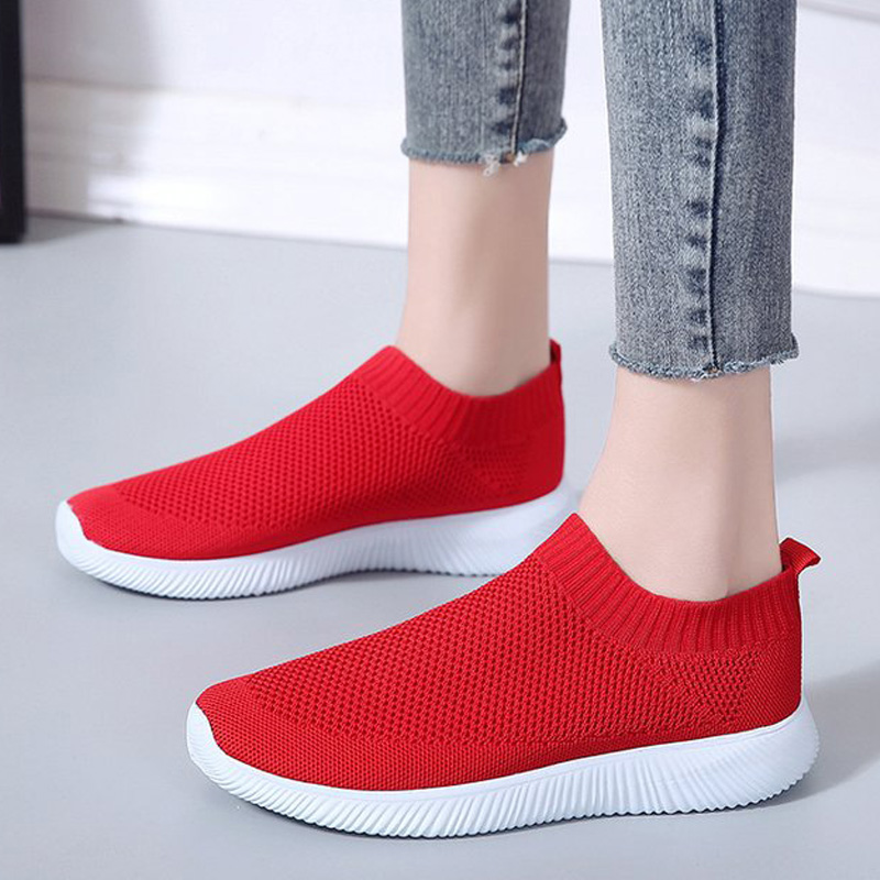 Women Flats Knitted Women Loafers Breathable Mesh Women Shoes Sock Sneakers Flat Shoes Women Casual Shoes Female Plus Size 43
