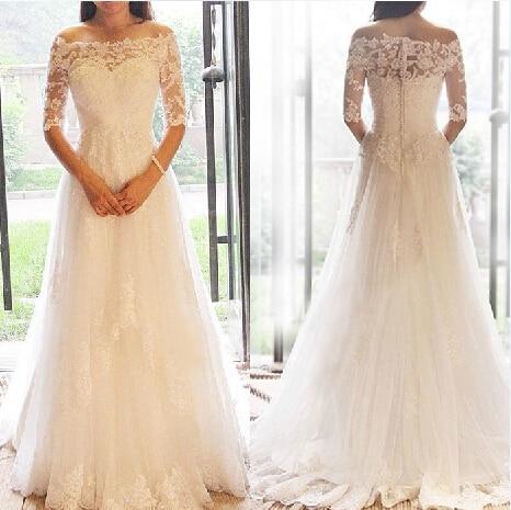 Free Shipping Sexy Appliques 2016 Casamento Vestido De Noiva Renda Bride A-line Beading Bridal Gown Vintage Lace Wedding Dress
