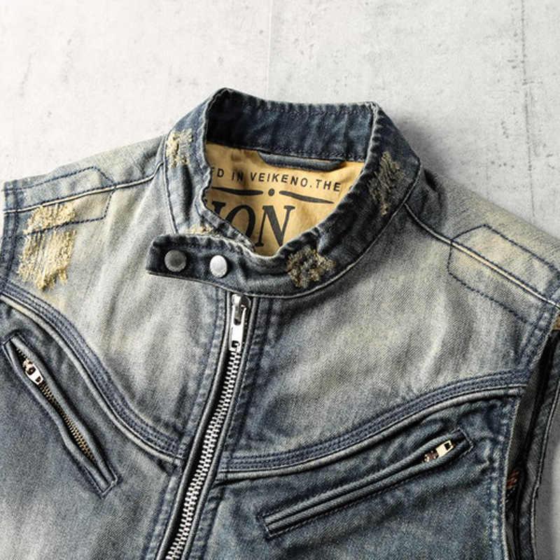 Frühling Sommer Ärmellose Denim Mantel Weste Männer Vintage Arbeit Zipper Jacke Straße Stil Stehkragen Schlank Cowboy Biker Weste 3XL