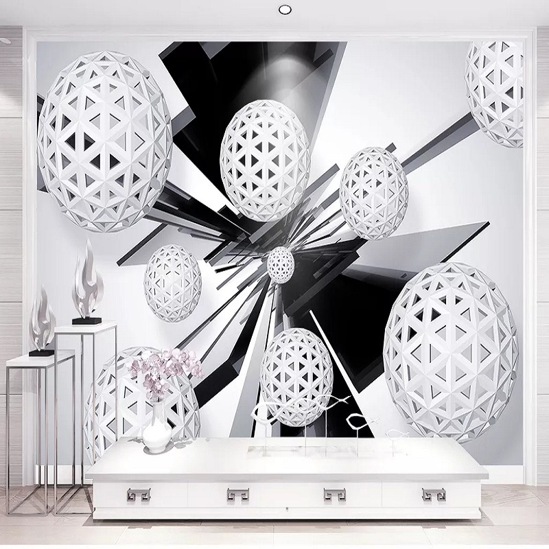 Custom Large Mural 3D Wallpaper Modern Creative 3D Space Geometric Sphere Living Room TV Back Wall Decor Deep 5D Embossed
