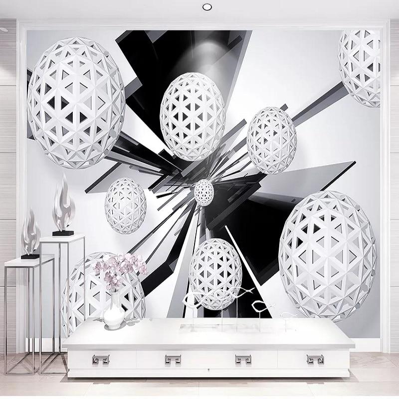Custom Large Mural 3D Wallpaper Modern Creative 3D Space Geometric Sphere Living Room TV Back Wall Decor Deep 5D Embossed