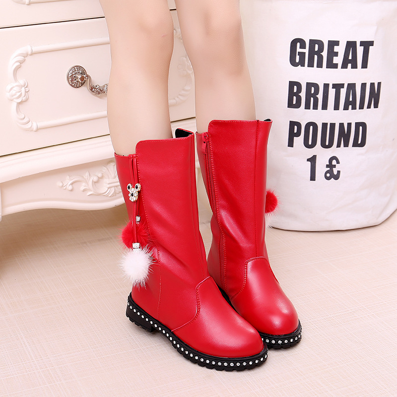 Fashion Female Children Snow Boots Waterproof Warm Long-cylinder Children Boots PU Leather Black Red Girls Boots B121