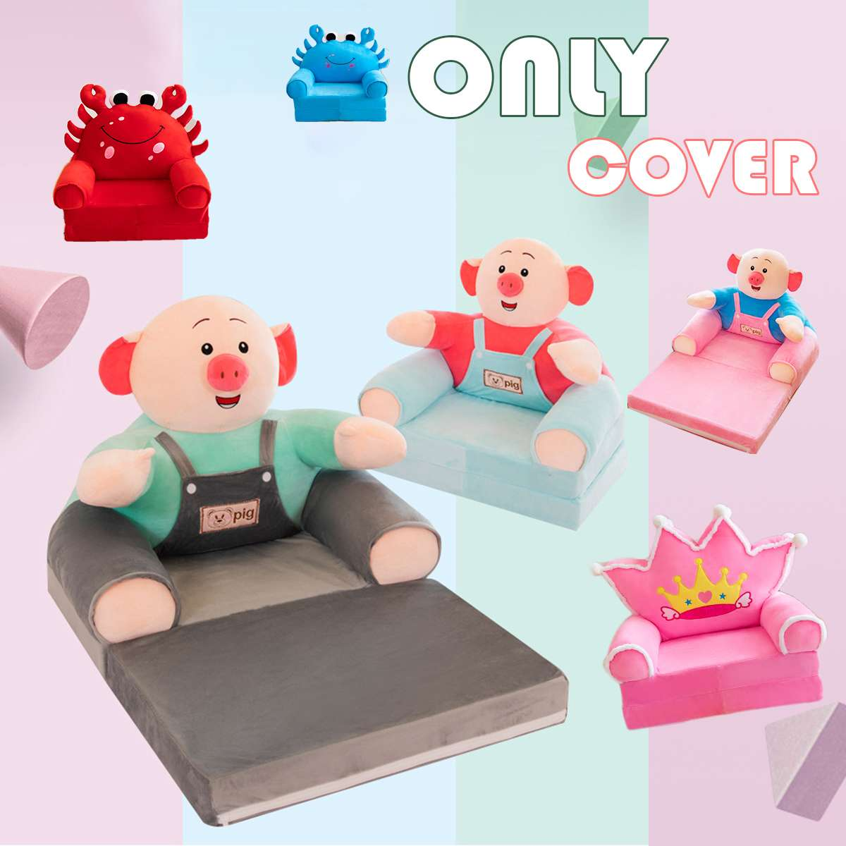 Kid Furniture Children Small Sofa Cover Cartoon Pig Princess Girl Baby Folding Seat Recliner Boy Single Lazy Sofa Bed(no Filling
