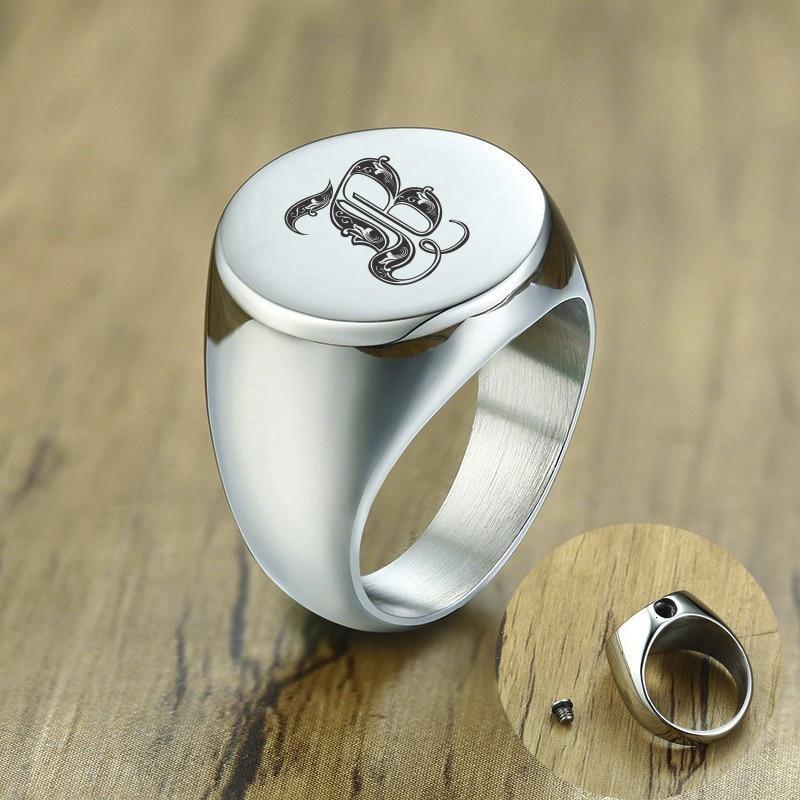 Anillo para hombres, recuerdo de cenizas, cremación monumento de acero inoxidable, anillos de urna, joyería personalizada