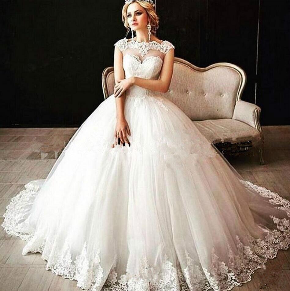 2019 Ball Gown Cap Sleeve Appliques Lace Wedding Dresses Appliques Princess Puffy Cheap Bridal Gowns Hot Sale
