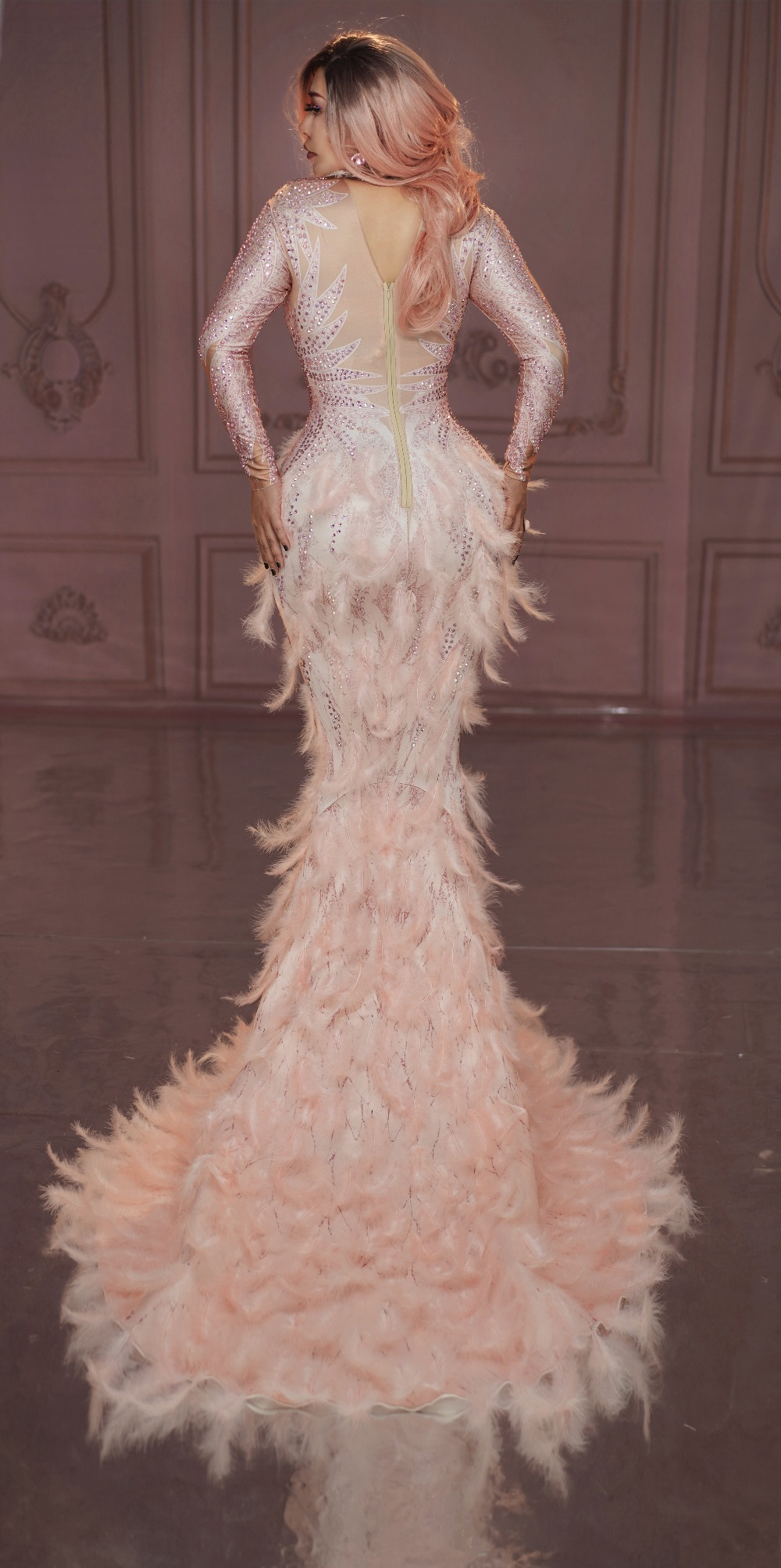 Pink Feather Dress (7)