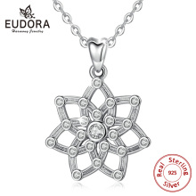 EUDORA 100% 925 Sterling Silver Summer Flower Love Pendants Necklace Flora Irish Celtics Knot Necklaces with Cubic Zirconia D455