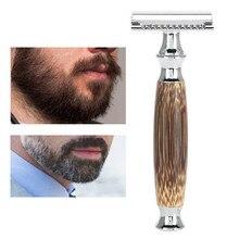 Men shaver duplo afiado navalha de segurança longo bambu natural lidar com barbear com 10 peças lâmina 40 #1015