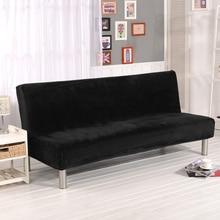Lellen Plushหนาผ้าพับArmlessโซฟาเตียงพับSlipcoverที่นั่งหนาครอบคลุมBench Couch Protector Cover