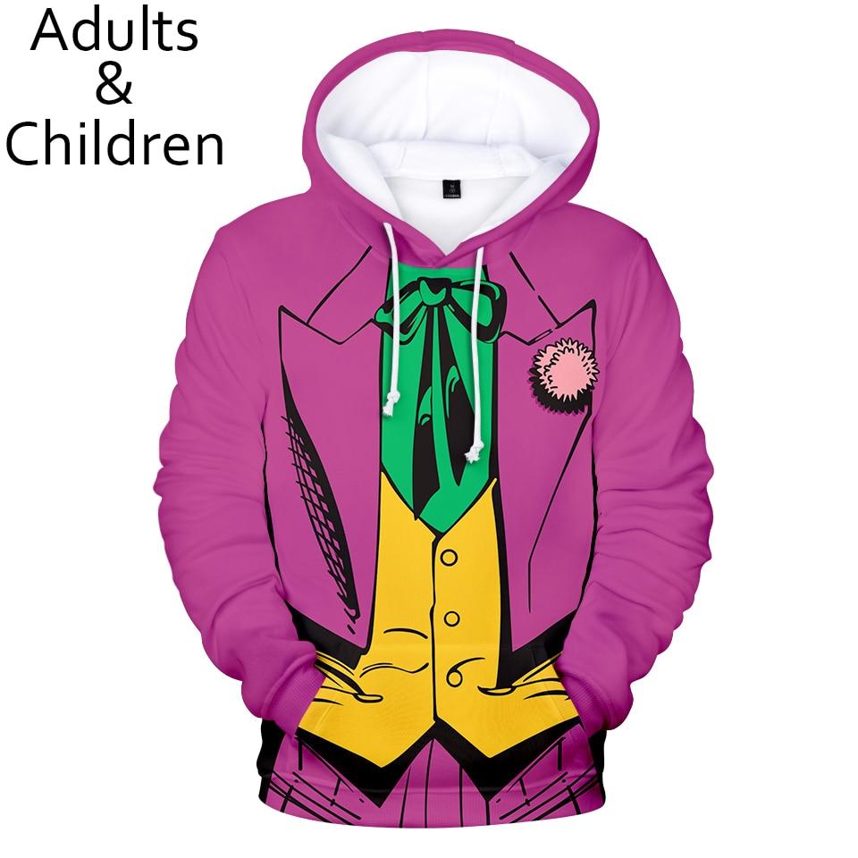 Joker 3D Hoodies Men Women Fake Two Pieces Sweatshirt  Fashion Kids Pullovers Casual Joker 3D Boys Girls Casual Purple Hooded