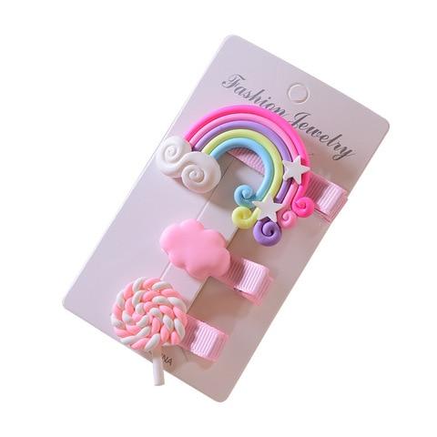 3pc/set Cute Girl Cloud Lollipop Rainbow Hairpins Cartoon Bobby Pin Hair Clips for Girls Children Headband Kids Accessories Multan