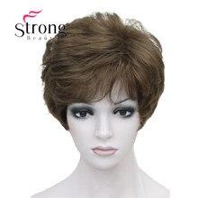 StrongBeauty Shag Stil Synthetische Perücken Kurze Wellenförmige Layered Dark Auburn Custom Perücke Für African American