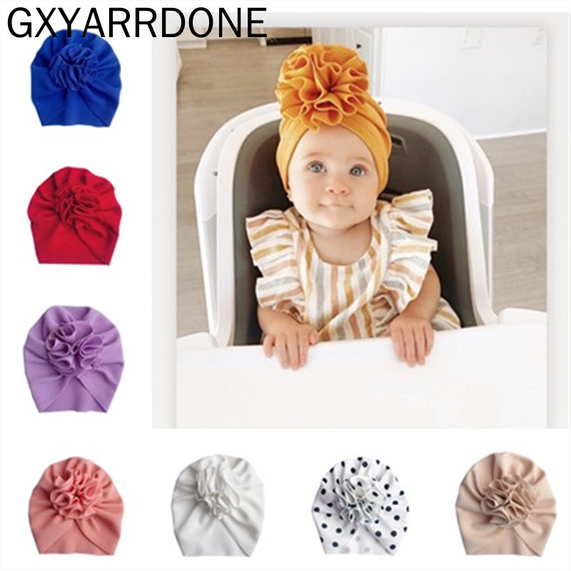 2020 Newborn Toddler Baby Turban Hat Bullet Print Fabric Beanie Hat Bloom Flower Hats Soft Caps Gifts