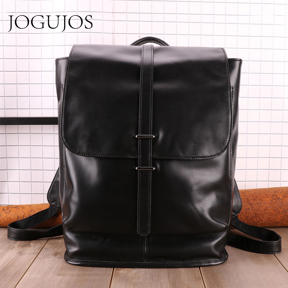 "JOGUJOS Business Men's leather backpacks Genuine Leather Men Backpack Causal 15"" Laptop Bag Fashion Travel Bags For Men Backpack"