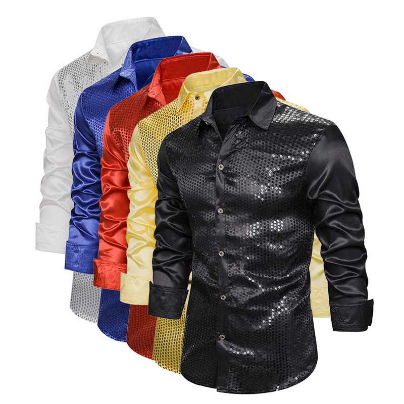 Men's Luxury Sequin Glitter Shirts New Long Sleeve Silk Satin Shiny Disco Party Shirt Men top Stage Dance Prom Costume