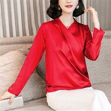 Fashion Autumn Women Silk Shirts Woman Satin Blouse Shirt Elegant Woman V-neck Blouses Shirt Plus Size Women Blouses Women Tops