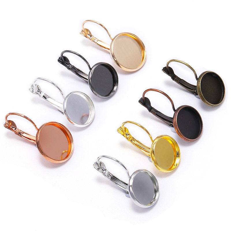 8 10 12 14 16 18 20 25 mm French Lever Cabochon Earring Setting Blank Earring Base Cameo Bezels Tray For Jewelry Making Supplies(China)