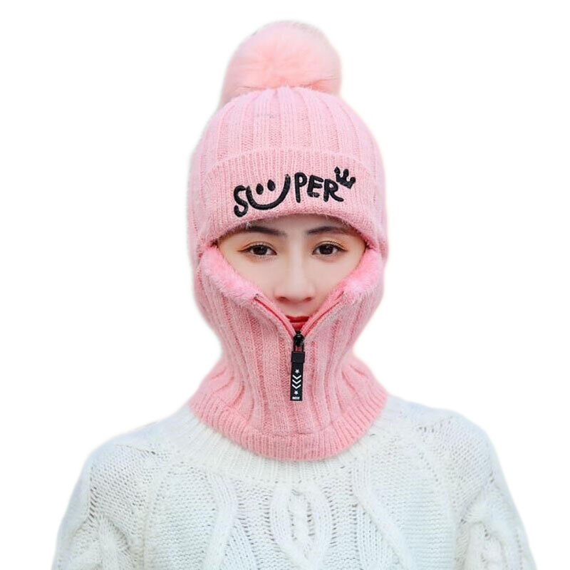 2pcs Knit Beanie Hat And Scarf Set Hairball Pompom Hats Female Thick Hat Winter Warm Cute Girls Fashion Letter Smiley Zipper Hat