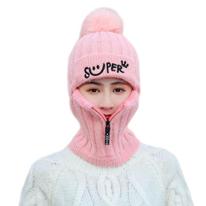 Image 1 - 2pcs Knit Beanie Hat and Scarf Set Hairball Pompom Hats Female Thick Hat Winter Warm Cute Girls Fashion Letter Smiley Zipper hat
