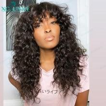 Perucas de cabelo humano com franja peruca onda água 200 densidade remy peruano máquina feita do couro cabeludo peruca superior para preto feminino xcsunny