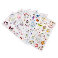 6 Sheet/set Cartoon Cute Unicorn Stickers Rainbow Color Sticker Adhesive Decoration for Album Diary Happy Days Girl Gift F942