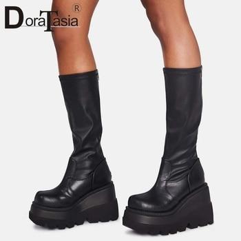 DORATASIA Big Size 35-43 Brand Design Ladies High Platform Boots Fashion Zip High Heels Boots Women 2020 Wedges Shoes Woman