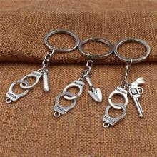 Creative fashion charm criminal personality keychain, best friend necklace set, partner friendship jewelry keychain