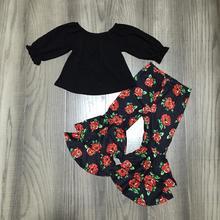 ربيع/شتاء طفل الفتيات الزي ملابس قطنية الأطفال الكشكشة أسود أحمر الأزهار زهرة الكشكشة جرس قيعان السراويل kidwear