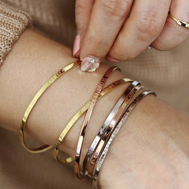 Inspirational Cuff Bracelet Bangle For Women Rose Gold silver color Engraved Mantra Bracelets Wife Fiance Personalized Gifts