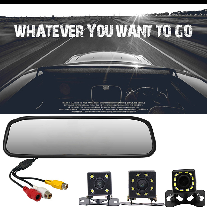 HD car display <font><b>4.3</b></font> <font><b>inch</b></font> car <font><b>monitor</b></font> for rear view camera reverse image Parking Assistance 2 Video Input Parking Mirror image