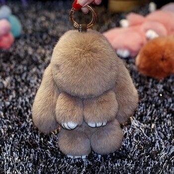 Plush rabbit doll pendant genuine Rex rabbit fur rabbit pendant cute car ornament key chain bag pendant rex rabbit fur caterpillar doll pendant furry car key chain doll pendant with glasses fashionable and cute bag pendant