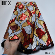 HFX New arrival fashion African Sequins Lace Fabric High Quality Ghana Handmade Mesh Lace Fabric French Tulle For Nigerian