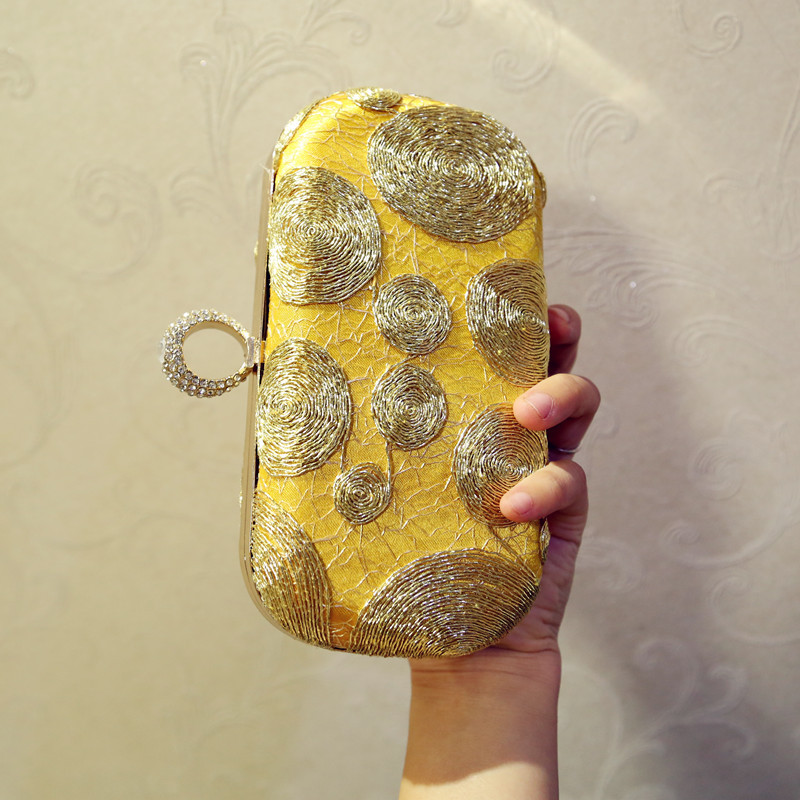 Королевская благородная Банкетная сумка с вышивкой, на одно плечо, Золотая маленькая квадратная сумка, сумка-мессенджер