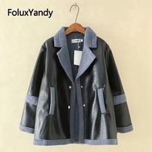 Plus size Parkas 4XL 5XL PU coat patchwork women parkas warm for winter fashion outwear KKFY4015