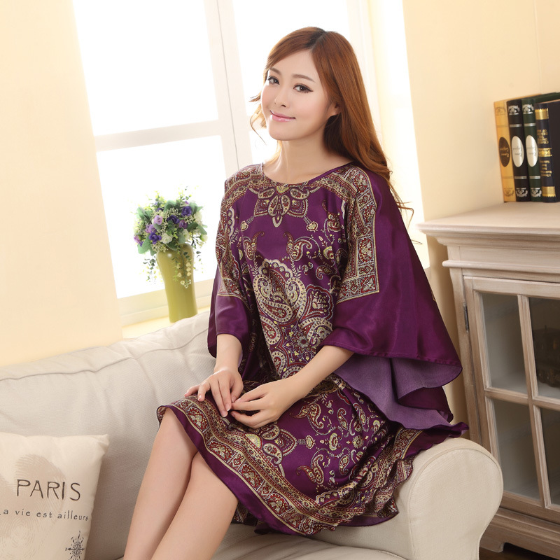 Summer New Light Blue Chinese Style Silk Rayon Robe Women's Sexy Loose Home Dress Vintage Kaftan Bath Gown Pajamas  Z02