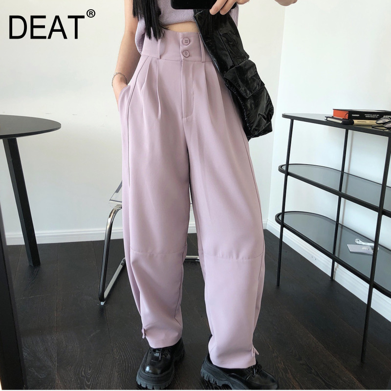 DEAT 2020 New Summer Fashion Patchwork Button Solid High Waist Casual Loose Long Pants Women SB970