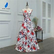 DEERVEADO M219 длина до пола длинное платье для выпускного вечера ТРАПЕЦИЕВИДНОЕ ПЛАТЬЕ С Цветочным Узором атласное вечернее платье для выпускного вечера vestido de festa