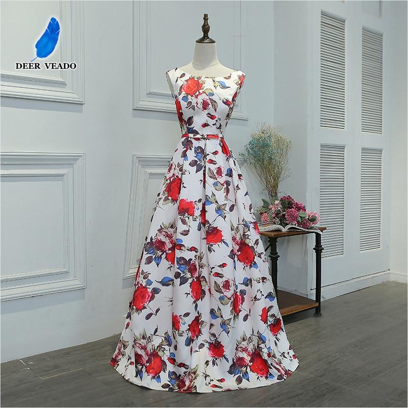 DEERVEADO M219 Floor-Length Long Prom Dress A-Line Flower Pattern Satin Formal Party Dresses Prom Gown Vestido De Festa