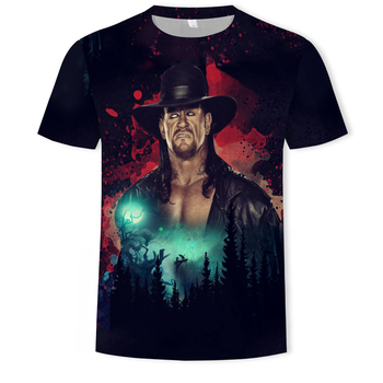 2019 WWE The Undertaker  3d print men short sleeve round neck t-shirt casual  hip hop summer tees top Wrestling fighting t shirt round neck union jack print short sleeve men s t shirt