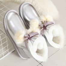 Winter Boots Sheepskin Women Shoes Fashion Woman No 100%Genuine