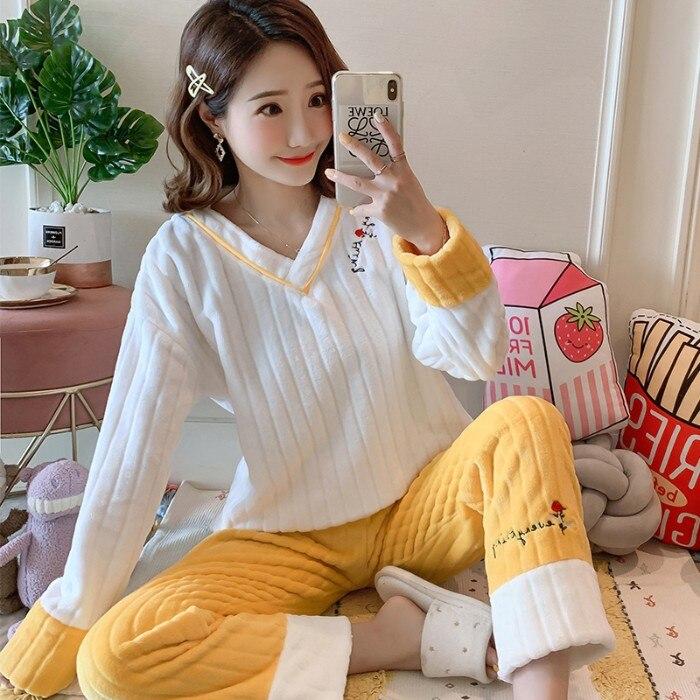 Pajamas Women's Autumn & Winter Coral Velvet Thick Plus Velvet Flannel Spring And Autumn Cartoon Furry Online Celebrity-Cute Win