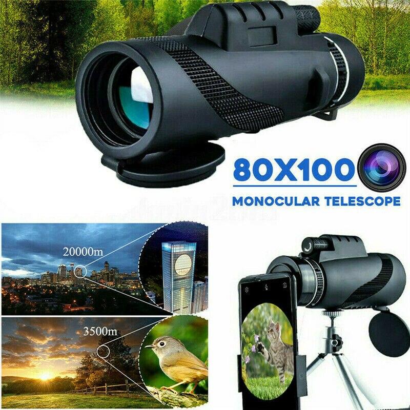 Телескоп монокулярный бинокль камера телескоп мощный объектив 80X100 HD зум Открытый Охота Кемпинг Туризм Спорт телескоп
