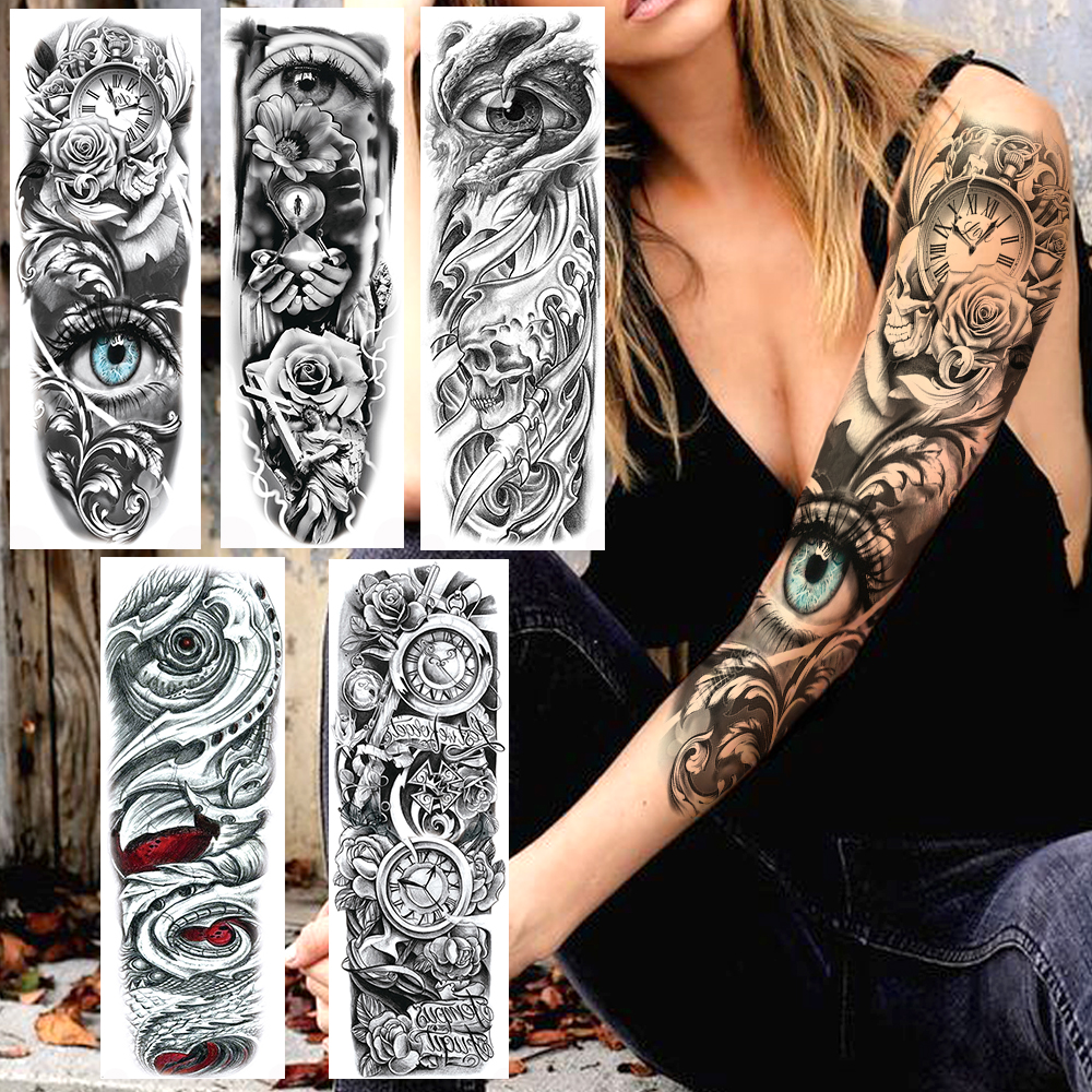 YURAN Realistic Full Flower Arm Temporary Tattoos For Men Women Rose Evil Eye Fake Tattoo Sticker Water Tranfer Body Art Tatoos