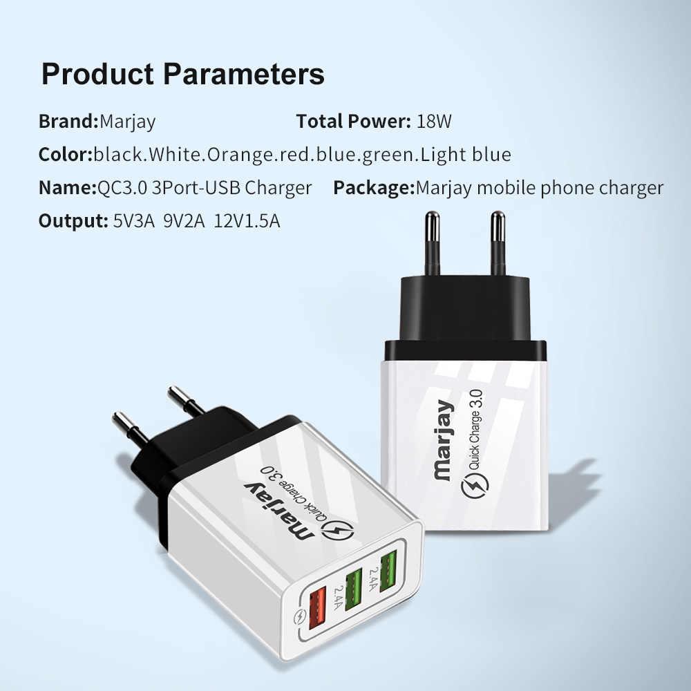 Marjay szybkie ładowanie 3.0 ładowarka USB 30W QC3.0 QC Turbo szybkie ładowanie wielu wtyczek ładowarka do telefonu komórkowego dla iPhone Samsung Xiaomi