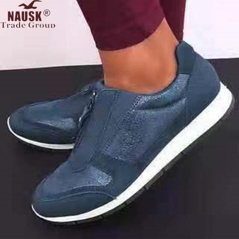 NAUSK  Women Zip PU Casual Falt Sneakers Ladies  Autumn Single Shoes Woman Comfort Walking Shoes Women's Plus Size Footwear