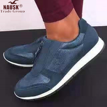 NAUSK Women Zip PU Casual Falt Sneakers Ladies Autumn Single