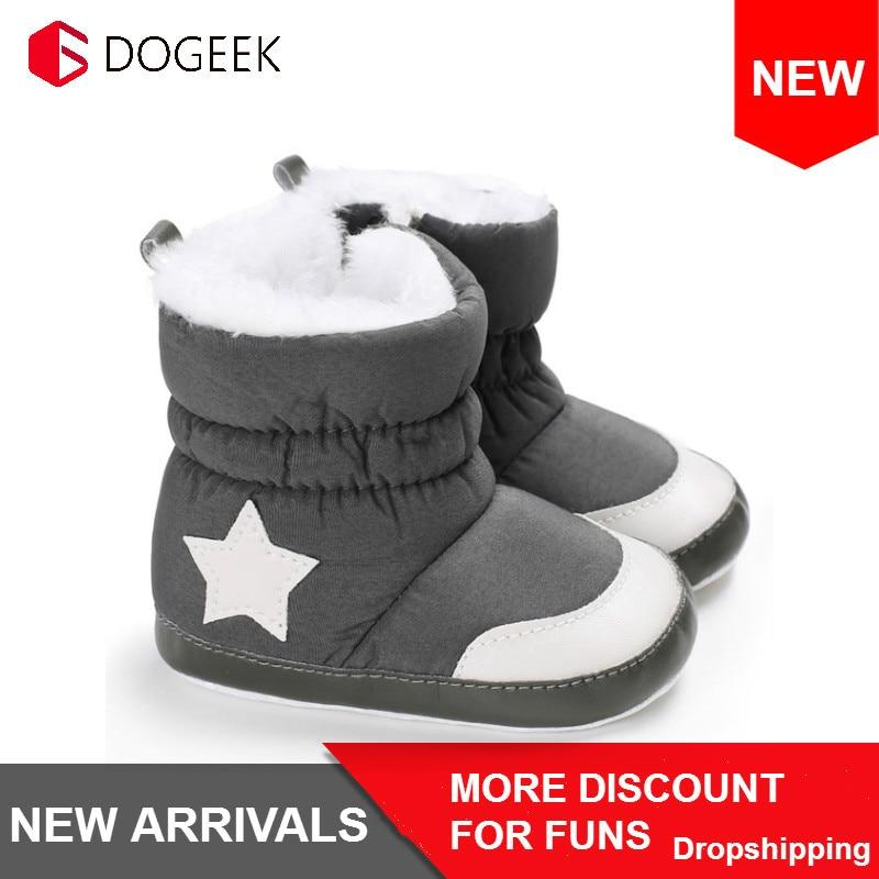 DOGEEK 0-18M hiver bébé fille garçon chaussons infantile enfant en bas âge bottes de neige nouveau-né chaud anti-dérapant doux semelle chaussures mode Anti-sale