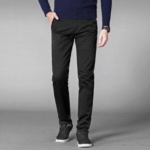 Image 4 - סתיו מזדמן מכנסיים גברים 2020 עסקים למתוח כותנה ישר Fit מכנסיים זכר לבוש הרשמי מכנסיים שחור חאקי בתוספת גודל 42 44 46