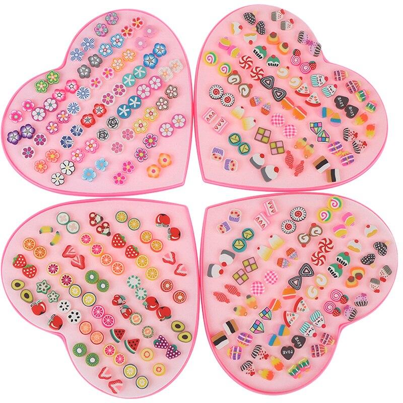 36 Pairs/Set Polymer Clay Stud Earrings Set Handmade Fruits Cartoon Earrings For Women Girls Children Grooming Kits