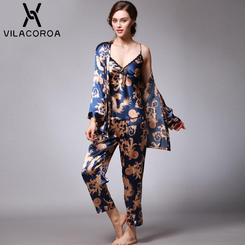 Autumn Fashion Silk Sexy Women's Pajamas Camis + Pant + Robe 3 Piece Sets Family Pajama Set Plus Size Pyjamas Women pijama mujer 51